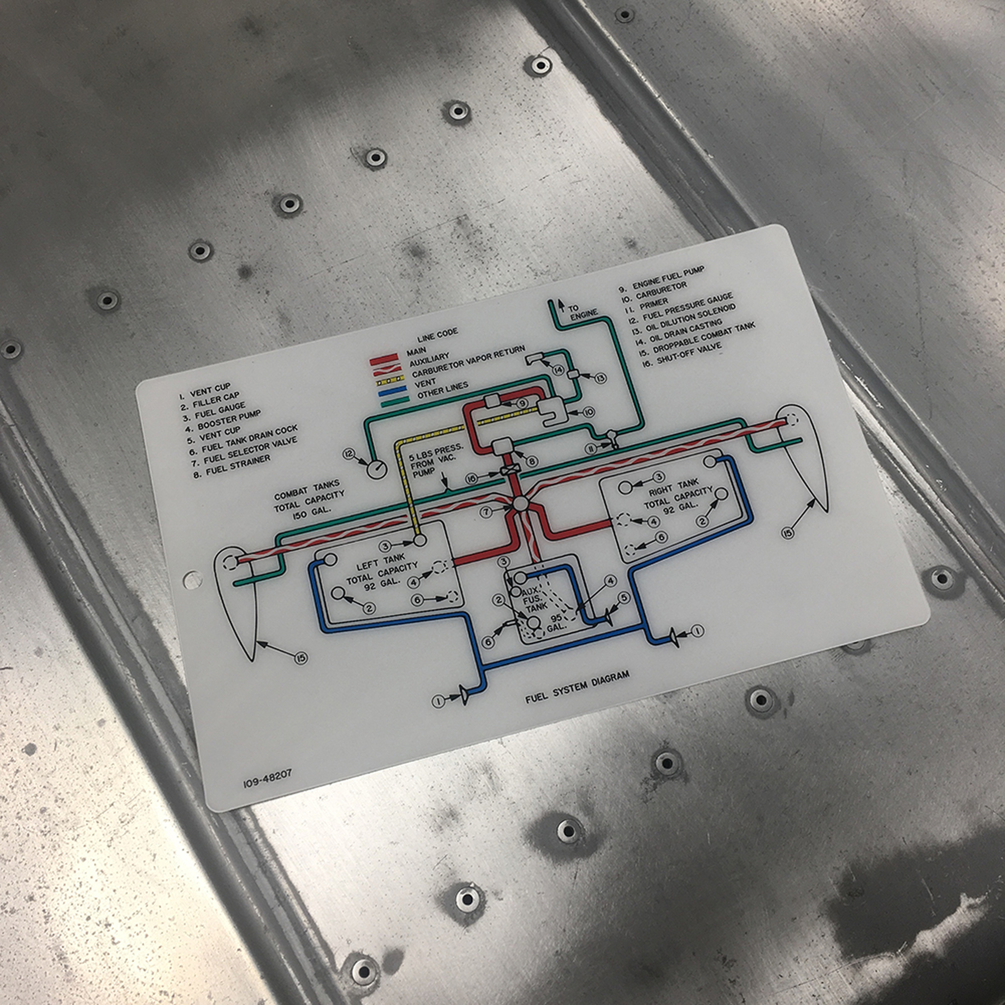 109-48207 Fuel System Diagram Data Card Full Color - P-51 Mustang on