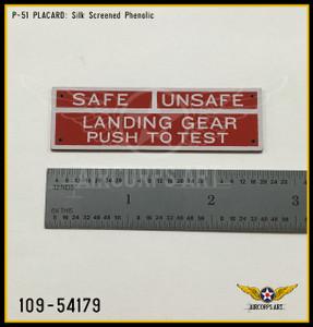 P/N - 109-54179 - PLATE - LANDING GEAR WARNING LIGHT - IDENTIFICATION