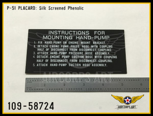 P/N - 109-58724 - PLATE - HYD. HAND PUMP MOUNTING INSTRUCTION