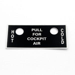 63-77114 BT-13 Pilots Hot & Cold Air Name Placard