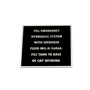 87-33-568-2 P-40 NAMEPLATES HYD. EMERGENCY SYSTEM