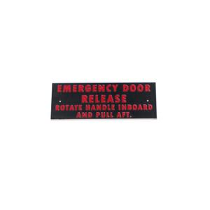 87-25-597 P-40 NAME PLATE - EMERGENCY DOOR REL.-CABIN