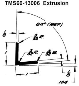 "TMS 60-13006 Extrusion - Metallic Angle Acute 84 DEG - 1"" x 1"" - 2024-O - AMS-QQ-A-200/3"