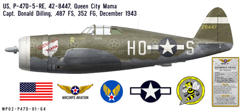 "P-47D Thunderbolt ""Queen City Mama"", Capt. Donald Dilling, 487th FS, 352nd FG, RAF Bodney, December 1943 Decorative Vinyl Decal"