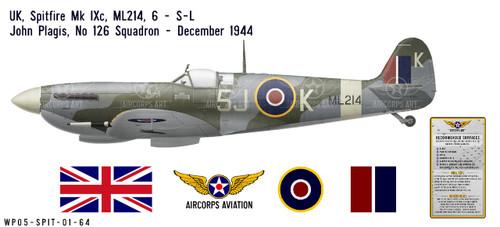 Spitfire Mk IXc, S/L John Plagis, OC No 126 Squadron, Royal Air Force, December 1944 Decorative Vinyl Decal