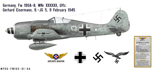 Fw 190A-8, Uffz. Gerhard Eisermann, 9./JG 5, February 1945 Decorative Vinyl Decal