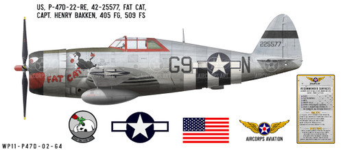 "P-47D Thunderbolt ""Fat Cat"", Capt. Henry Bakken, 509th FS, 405th FG, 1944 Decorative Vinyl Decal"