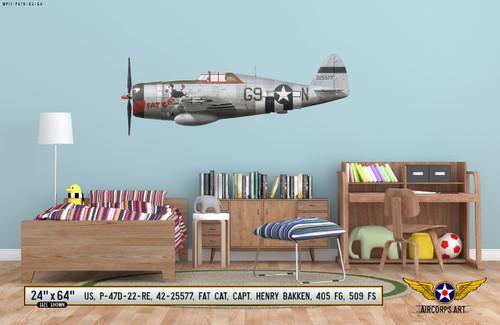"P-47D Thunderbolt ""Fat Cat"", Capt. Henry Bakken, 509th FS, 405th FG, 1944 Decorative Vinyl Decal"