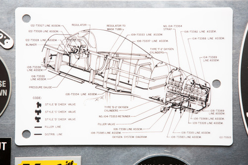 Screen printed acetate sheet cockpit reference diagram for P-51 mustang oxygen system reproduced from original drawing.   122-73303 - CARD - OXYGEN SYSTEM DIAGRAM SCHEMATIC  http://www.aircorpslibrary.com/ResourceSearch?q=122-73303