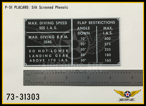 P/N 73-31303 - PLATE - FLIGHT RESTRICTIONS INSTRUCTION