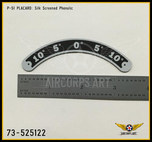 P/N - 73-525122 - PLATE - RUDDER TRIM TAB POSITION INDICATOR