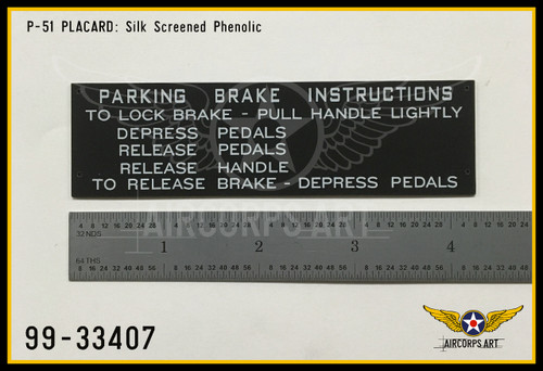 P/N - 99-33407 - PLATE - PARKING BRAKE INSTRUCTION