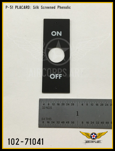 P/N - 102-71074 - PLATE - TOGGLE SWITCH ON-OFF NAME