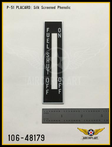 P/N - 106-48179 - PLATE - FUEL SHUT OFF CONTROL INSTRUCTIONS
