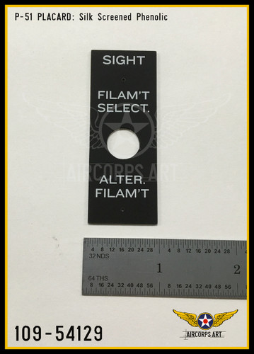 P/N - 109-54129 - PLATE - GUNSIGHT FILAMENT SELECTOR NAME