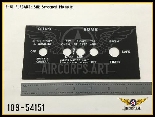 P/N - 109-54151 - PANEL - ARMAMENT CONTROL