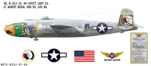 """B-25J Mitchell """"Lady Lil"""" Decorative Vinyl Decal"""