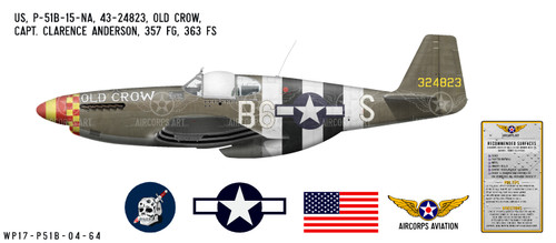 """P-51B Mustang """"Old Crow"""" Decorative Vinyl Decal"""