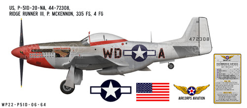 "P-51D Mustang ""Ridge Runner III"" Decorative Vinyl Decal"