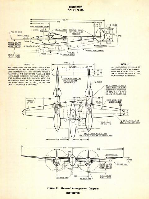 "P-38 Lightning Vintage Poster- Three View Aircraft General Arrangement 24""x18"""