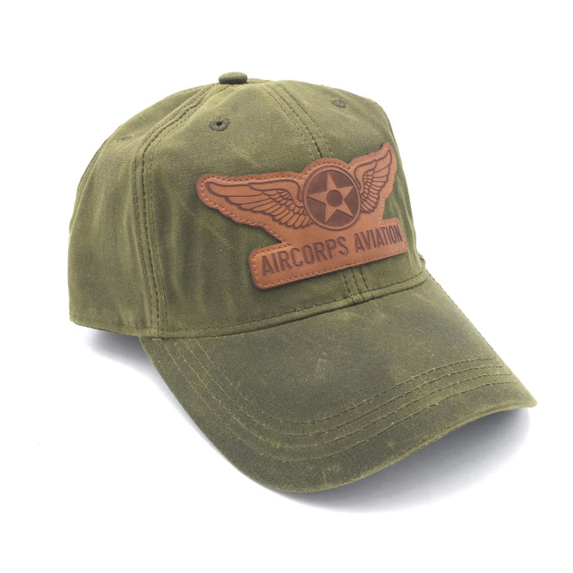 """Waxed Cotton """"Olive"""" w/Brown Leather Patch"""