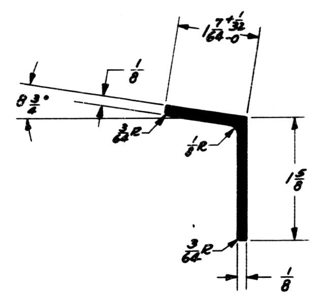 """1E105T Extrusion - Metallic Angle - 1.625"""" x 1.109"""" - 2024-T3511"""