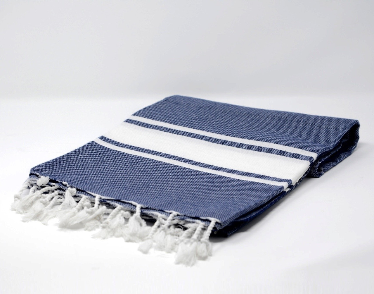Sanibel Turkish Beach Towel In Navy Blue With A White Stripes