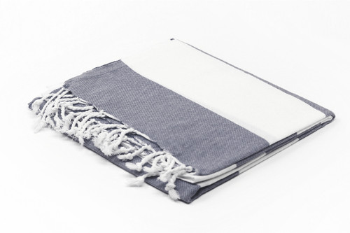 Turks and Caicos,  Two Tone Turkish Beach Towel in Gray and White