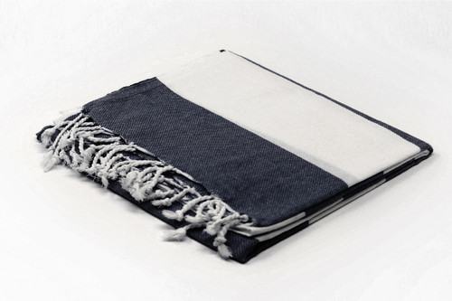 Turks and Caicos,  Two Tone Turkish Beach Towel in Black and White