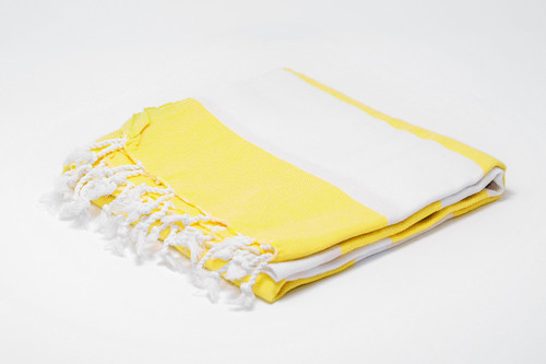 Turks and Caicos,  Two Tone Turkish Beach Towel in Yellow and White