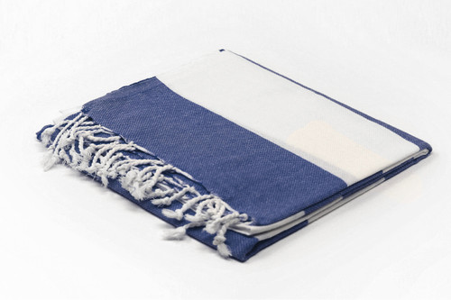 Turks and Caicos,  Cabana Stripe -Two Tone Turkish Beach Towel in Navy Blue and White