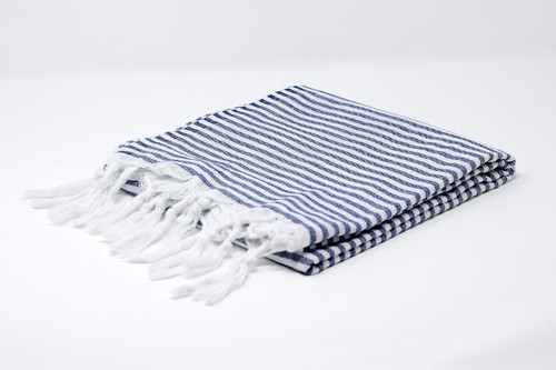 St. Thomas,  Candy Striped Turkish Beach Towel in Navy Blue and White