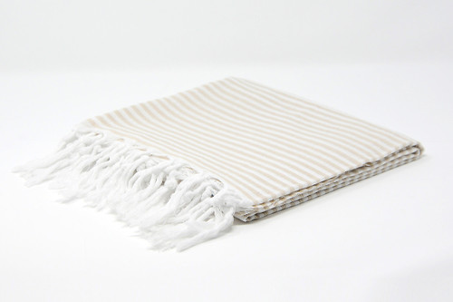 St. Thomas,  Striped Turkish Beach Towel in Sand and White