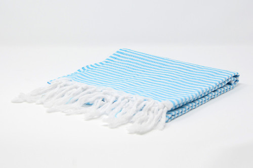 St. Thomas,  Striped Turkish Beach Towel in Turquoise and White