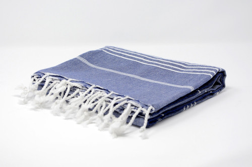 Bimini,  Tiny White Lines Turkish Beach Towel in Navy Blue
