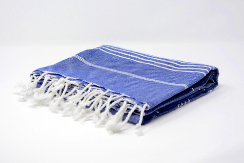 Bimini,  Tiny White Lines Turkish Beach Towel in Royal Blue
