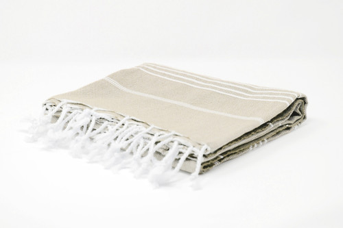 Bimini,  Tiny White Lines Turkish Beach Towel in Sand