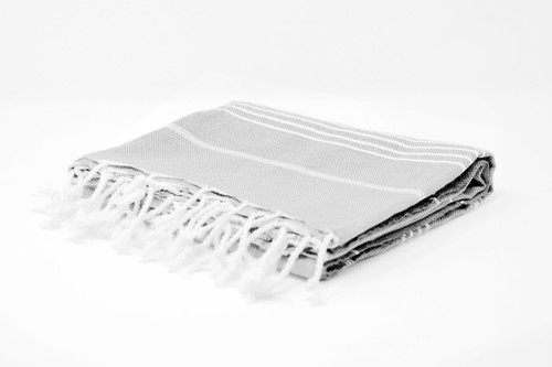 Bimini,  Tiny White Lines Turkish Beach Towel in Light Gray