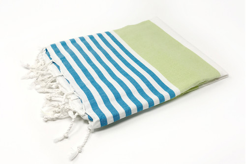 Anguilla,  Striped Turkish Beach Towel in Lime, Turquoise and White