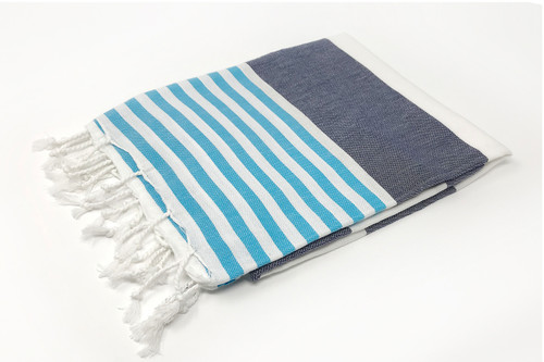 Anguilla,  Striped Turkish Beach Towel in Navy, Turquoise and White