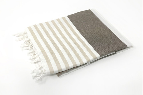 Anguilla,  Striped Turkish Beach Towel in Sand, Brown and White