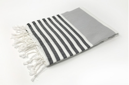 Anguilla,  Striped Turkish Beach Towel in Navy, Gray and White