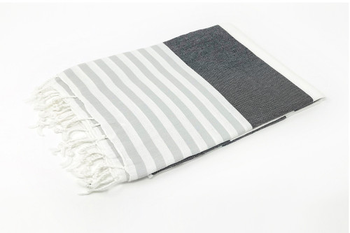 Anguilla,  Striped Turkish Beach Towel in Gray, Black and White