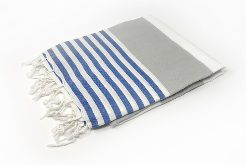 Anguilla,  Striped Turkish Beach Towel in Royal Blue, Gray and White