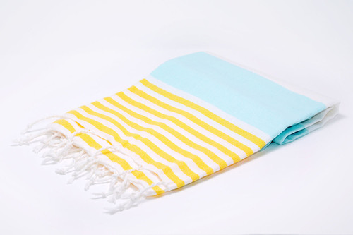 Anguilla,  Striped Turkish Beach Towel in Mint Green, Yellow and White