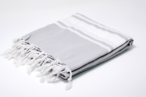 Sanibel,  Turkish Beach Towel in Gray, with a White Stripes