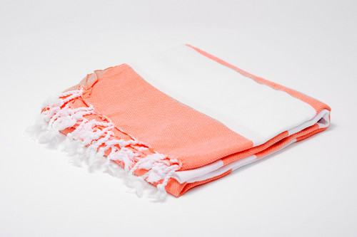 Turks and Caicos,  Two Tone Turkish Beach Towel in Coral and White