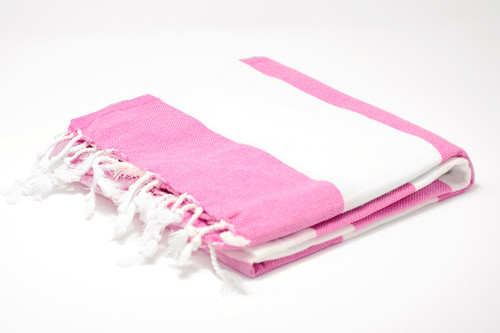 Turks and Caicos,  Two Tone Turkish Beach Towel in Pink and White
