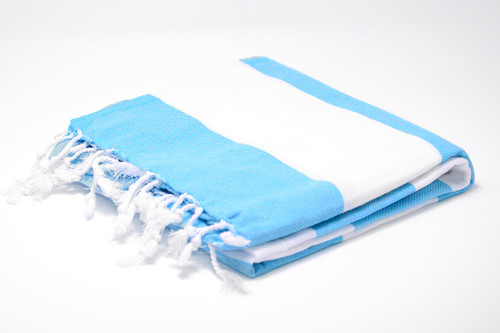 Turks and Caicos,  Two Tone Turkish Beach Towel in Turquoise and White
