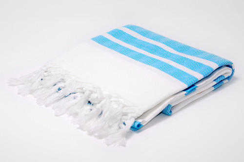 St. Barth,  Two Tone Turkish Beach Towel in white with Turquoise details.